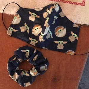 Stars wars face mask baby yoda scrunchie set NEW